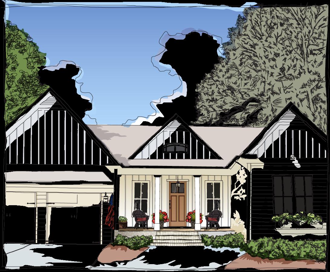 Farmhouse Home Illustration